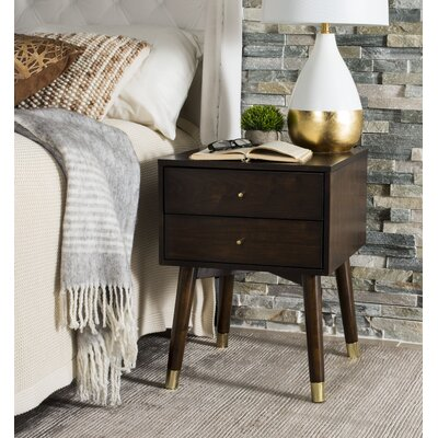 Ables 2 Drawer Nightstand Color: Walnut/Gold