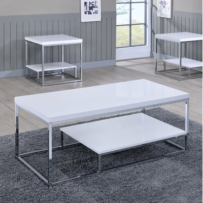 Corona Coffee Table Color: White