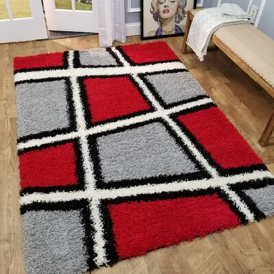 Volkonskaya Geometric Tile Design Contemporary White/Grey Shag Area Rug Rug Size: 67 x 93