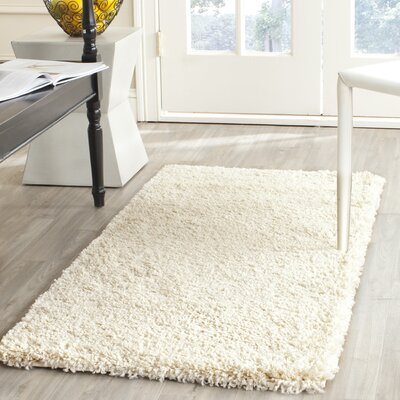 Yoan Shag and Flokati Ivory Area Rug Rug Size: Rectangle 53 x 76