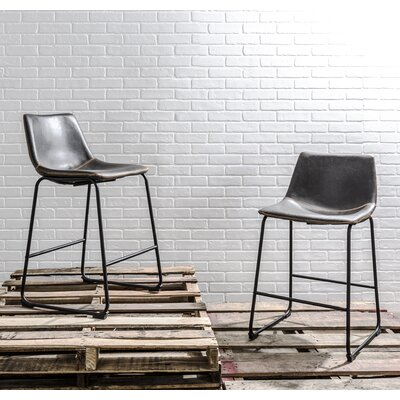 Amendola 25.5 Bar Stool Upholstery: Gray