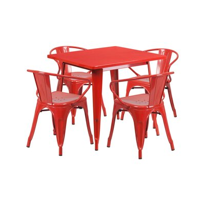 Britton Metal 5 Piece Dining Set Color: Red