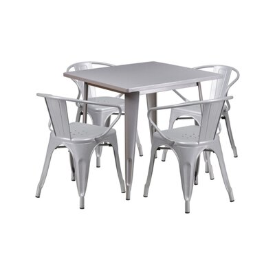 Britton Metal 5 Piece Dining Set Color: Silver
