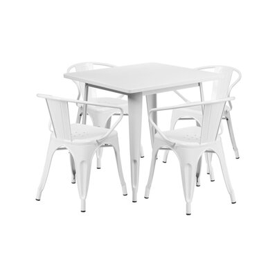 Britton Metal 5 Piece Dining Set Color: White