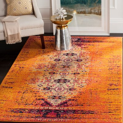 Hydra Orange Area Rug Rug Size: Rectangle 51 x 77