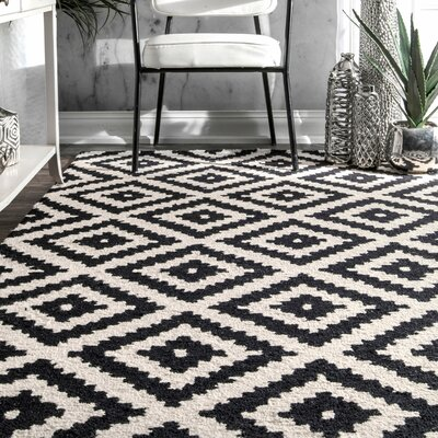 Obadiah Hand-Tufted Wool Black Area Rug Rug Size: Rectangle 76 x 96