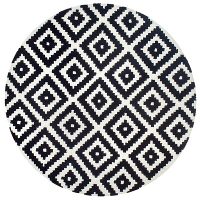 Obadiah Hand-Tufted Wool Black Area Rug Rug Size: Round 8