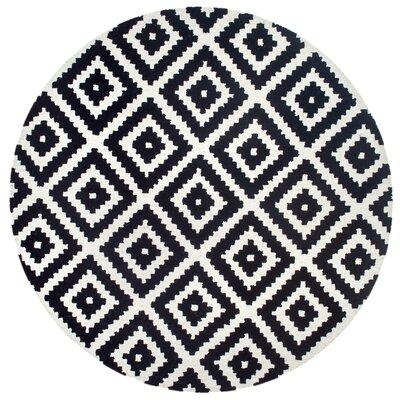 Obadiah Hand-Tufted Wool Black Area Rug Rug Size: Round 4
