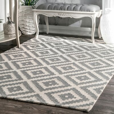 Obadiah Hand-Woven Wool Gray Area Rug Rug Size: Rectangle 9 x 12