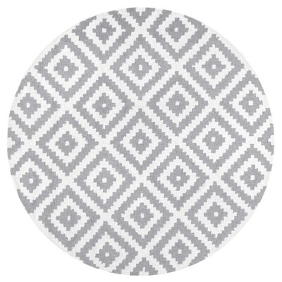 Obadiah Hand-Woven Wool Gray Area Rug Rug Size: Round 6
