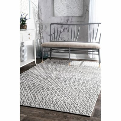 Malbrough Hand-Woven Cotton Beige/Ivory Area Rug Rug Size: Rectangle 4 x 6