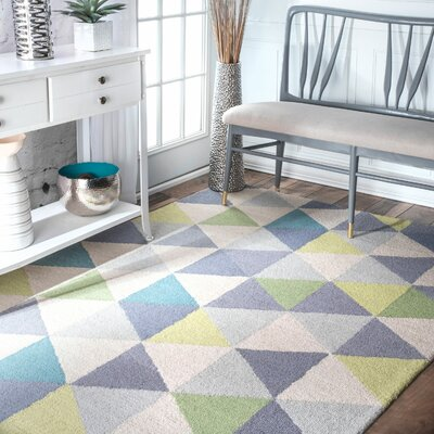 Peasley Hand-Hooked Gray/Blue Area Rug Rug Size: Rectangle 76 x 96