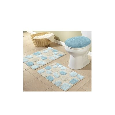River Rocks 3 Piece Bath Rugs Set Color: Aqua Marine