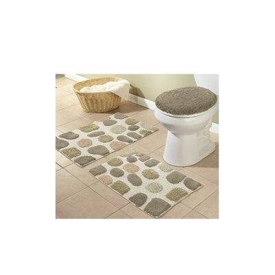 River Rocks 3 Piece Bath Rugs Set Color: Khaki