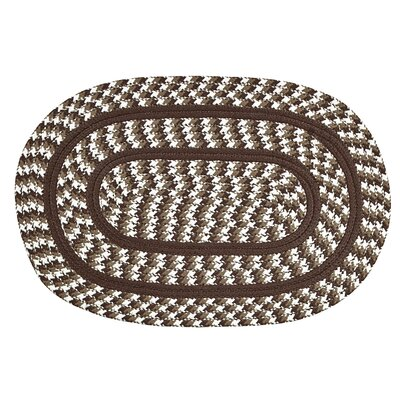 Crescent Braided Brown Indoor/Outdoor Area Rug  Rug Size: Round 6
