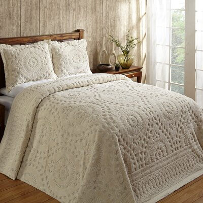 Faunia Cotton Bedspread Size: Queen, Color: Ivory