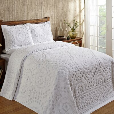 Faunia Cotton Bedspread Size: Queen, Color: White