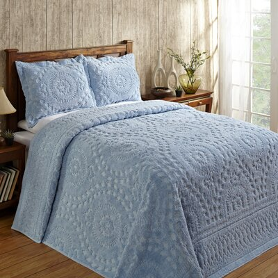Faunia Cotton Bedspread Color: Blue, Size: King