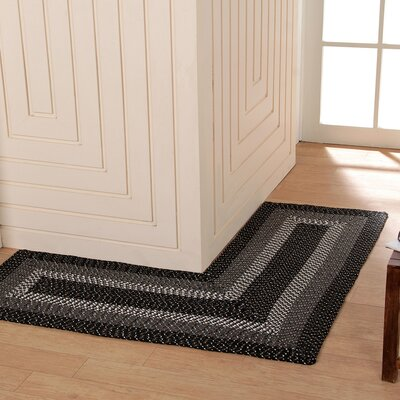 Country Hand-Braided Black Area Rug Rug Size: 4 x 4