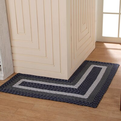 Country Hand-Braided Blue Area Rug Rug Size: 4 x 4