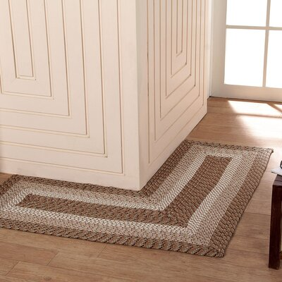 Country Hand-Braided Beige Area Rug Rug Size: 4 x 4