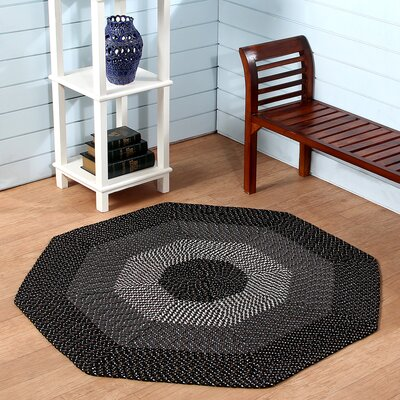 Country Hand-Braided Black Area Rug