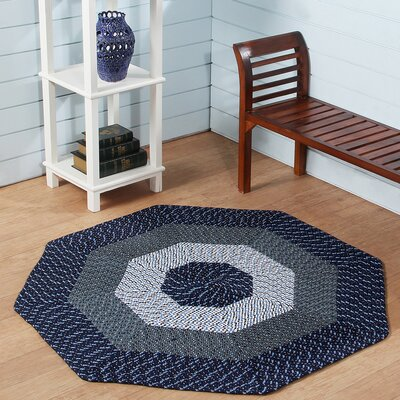Country Hand-Braided Blue Area Rug