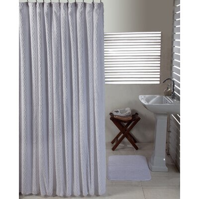 Waves Cotton Shower Curtain Set Color: White