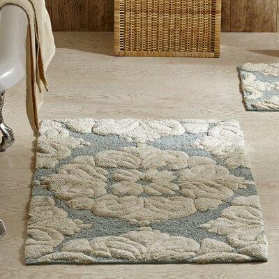 Westhoff Medallion Bath Mat Size: 17x24 & 21x34, Color: Blue and Natural
