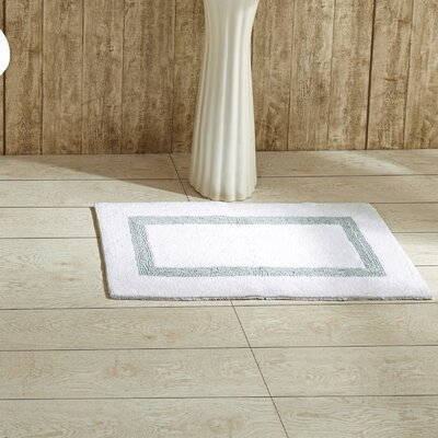 Hotel Bath Mat Size: 17 x 24, Color: White and Blue