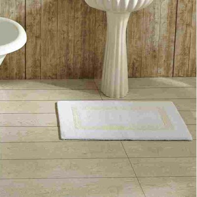 Khanh Bath Mat Size: 17 x 24, Color: White and Ivory