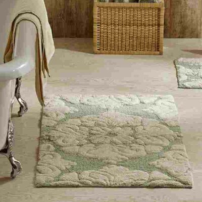 Westhoff Medallion Bath Mat Size: 17x24 & 24x40, Color: Sage and Natural