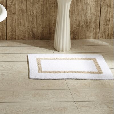 Hotel Bath Mat Size: 17 x 24, Color: White and Sand