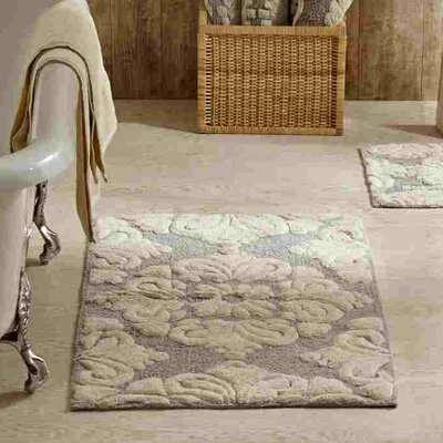 Westhoff Medallion Bath Mat Size: 17x24 & 21x34, Color: Grey and Natural