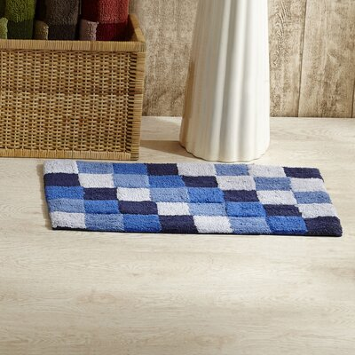 Tiles Bath Rug Color: Blue