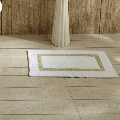 Hotel Bath Mat Size: 17 x 24, Color: White and Sage