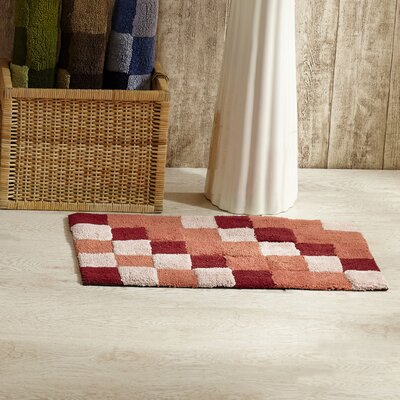 Tiles Bath Rug Color: Burgundy
