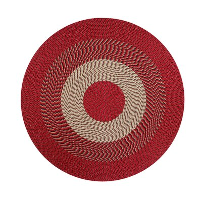 Braided Stripe Barn Red/Tan Area Rug Rug Size: Round 6