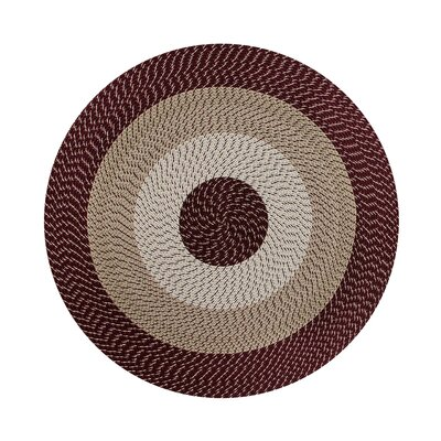 Braided Stripe Brown/Taupe Area Rug Rug Size: Round 6