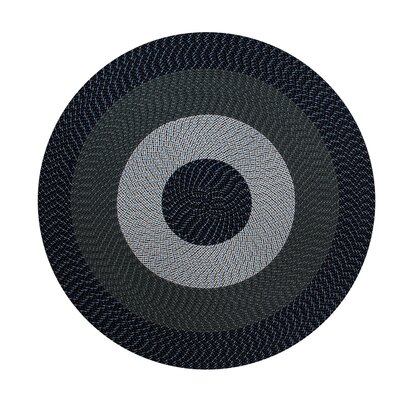 Braided Stripe Charcoal/Gray Area Rug Rug Size: Round 6