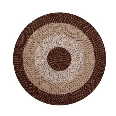 Braided Stripe Chocolate/Taupe Area Rug Rug Size: Round 6