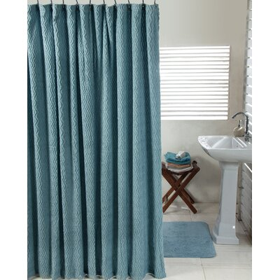 Waves Cotton Shower Curtain Set Color: Aqua