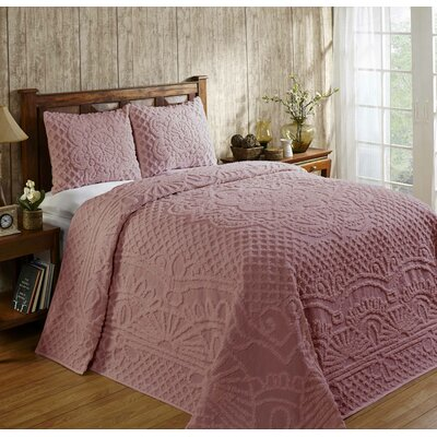 Trevor Cotton Reversible Bedspread Set Size: Queen, Color: Pink