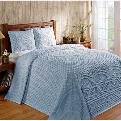 Trevor Cotton Reversible Bedspread Set Size: King, Color: Blue