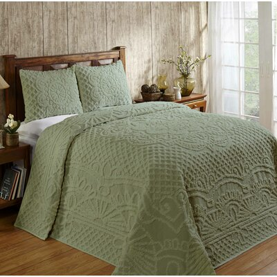 Trevor Cotton Reversible Bedspread Set Size: Full, Color: Sage