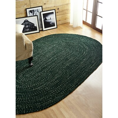 Chenille Reversible Tweed Braided Diluth/Emerald Indoor/Outdoor Area Rug Rug Size: Round 8