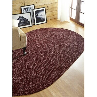 Chenille Reverible Tweed Braided Burgundy/Mauve Indoor/Outdoor Area Rug Rug Size: Round 8