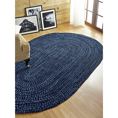 Chenille Reverible Tweed Braided Navy/Smoke Blue Indoor/Outdoor Area Rug Rug Size: Round 8