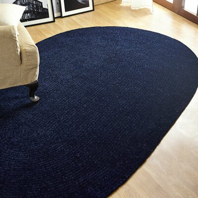 Chenille Reversible Dark Blue Indoor/Outdoor Area Rug Rug Size: Oval 36 x 56