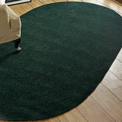 Chenille Reversible Dark Green Indoor/Outdoor Area Rug Rug Size: Oval 2 x 9
